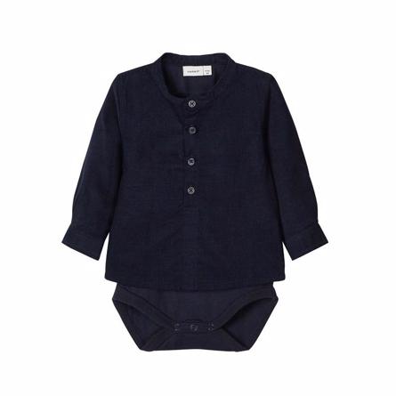Image of   NAME IT Velour Skjorte Body Dark Navy