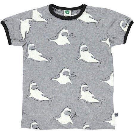 Image of   SMÅFOLK T-Shirt Med Hajer Grå