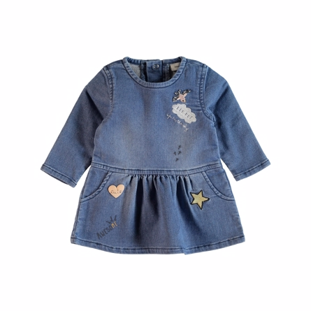 Image of   NAME IT Baby Denim Kjole Med Badges